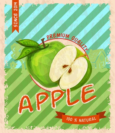 Natural fresh organic sweet garden apple  premium quality retro poster vector illustration Vector