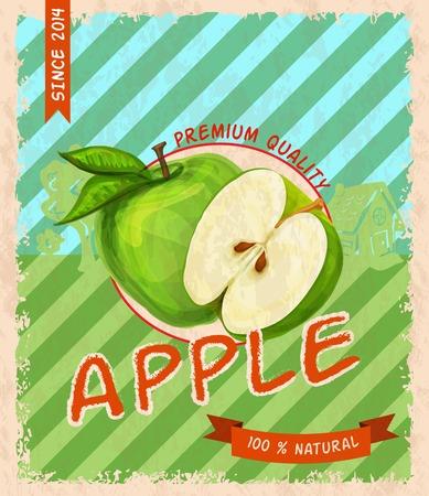 apple juice: Natural fresh organic sweet garden apple  premium quality retro poster vector illustration Illustration