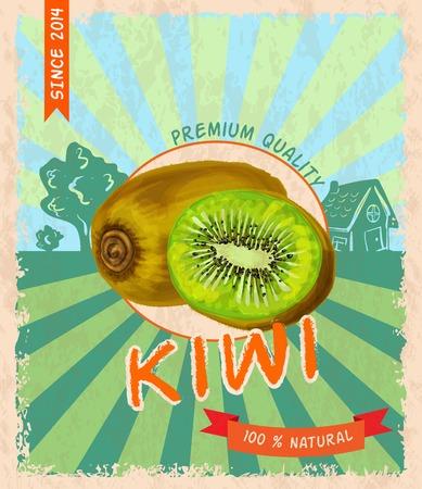 Natural fresh organic tropical kiwi premium quality retro poster vector illustration Vector