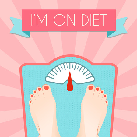 eating habits: Healthy weight loss control with retro scale diet concept decorative poster vector illustration