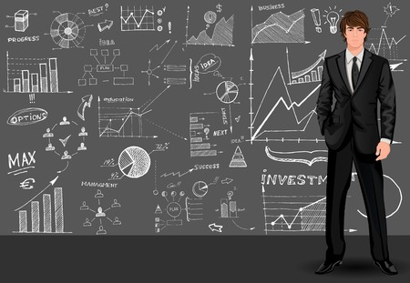 businessman standing: Young tall handsome businessman against the doodle style sketch graph patterned background vector illustration