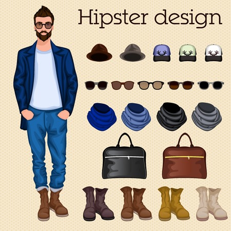 accessory: Hipster vintage character pack design elements for male guy with accessory and clothing isolated vector illustration