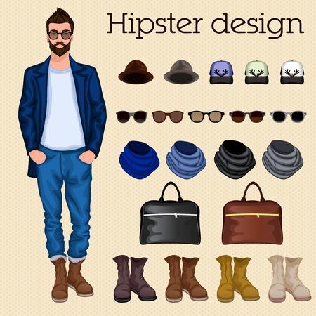 accessoire: Pack �l�ments de conception hippie vintage caract�res pour homme m�le avec accessoires et v�tements isol�s illustration vectorielle