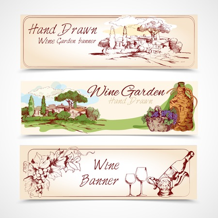 wine card: Hand drawn wine garden banner set with grape house bottle elements isolated vector illustration