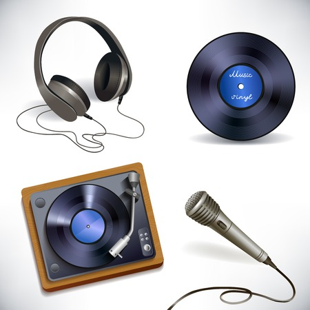 vinyl disk player: Music entertainment performance equipment set of earphones microphone vinyl disk and record player isolated vector illustration