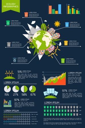 environmentally: Ecology environmentally friendly energy planet infographic set with graphs and charts vector illustration