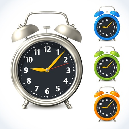 analog clock: Vintage old style color and metal alarm clock watch set isolated vector illustration