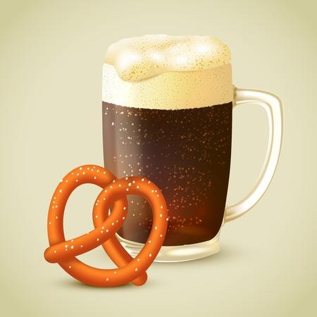 stout: Glass mug of cold dark porter stout beer with froth and salt pretzel emblem vector illustration Illustration