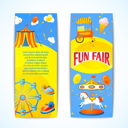 amusement park rides: Amusement entertainment carnival fun fair vertical banners advertising leaflets isolated vector illustration