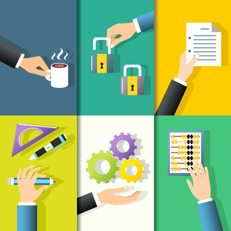 Business hands gestures design elements of holding coffee mug lock paper isolated vector illustration Vector