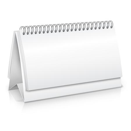 Prázdný prázdný spirála stůl kalendář mockup vektorové ilustrace