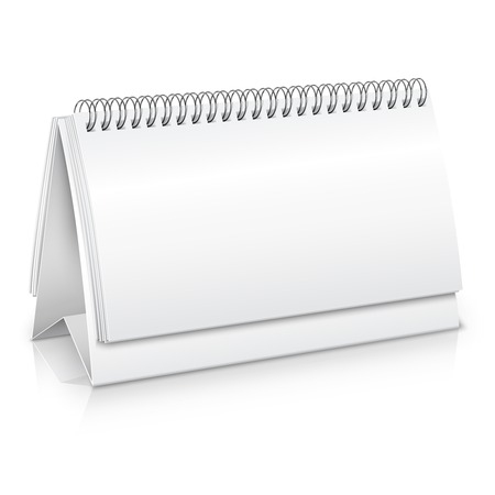 Empty blank spiral desk business calendar mockup vector illustration