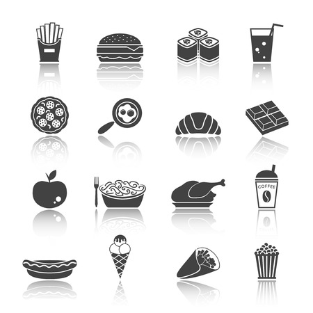 junk: Fast junk food icons set of sandwich hot dog pizza hamburger  isolated vector illustration Illustration