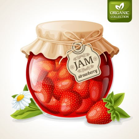 Natural organic homemade strawberry jam in glass with tag and paper cover vector illustration