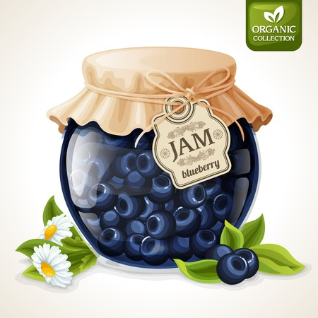 confiture: Natural organic homemade forest blueberry jam in glass with tag and paper cover vector illustration