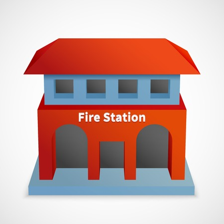 building fire: Fire station icon red 3d building template isolated vector illustration
