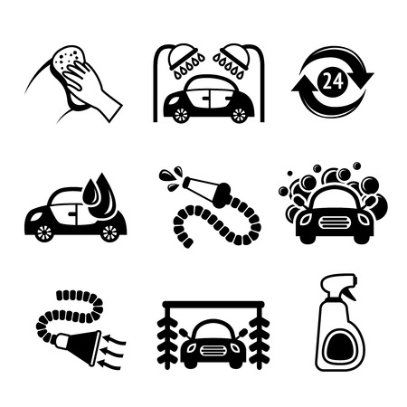 Car wash black and white auto cleaner washer shower service isolated icons vector illustration Vector