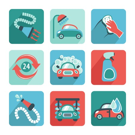 wash hand: Car wash flat auto cleaner washer shower service isolated icons vector illustration