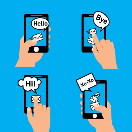 bye: Hand holding smartphone touching screen  sending receiving messages icons isolated vector illustration. Illustration