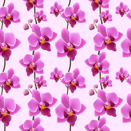 sateen: Decorative festive elegant rich orchid blossoms wrapping paper seamless sateen pattern design print vector illustration