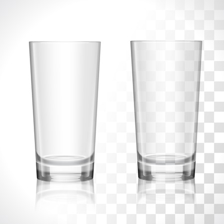 Empty transparent water drinking glasses isolated vector illustration Illustration