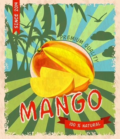 mangoes: Natural fresh organic sweet mango premium quality retro poster vector illustration.
