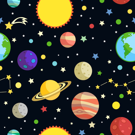Space seamless pattern with planets stars comets and constellations on dark background vector illustration Vector