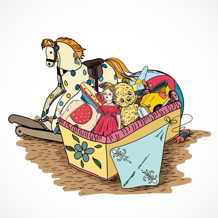 toy shop: Old style kids toys sketch box with kite ball rocking horse doll vector illustration Illustration