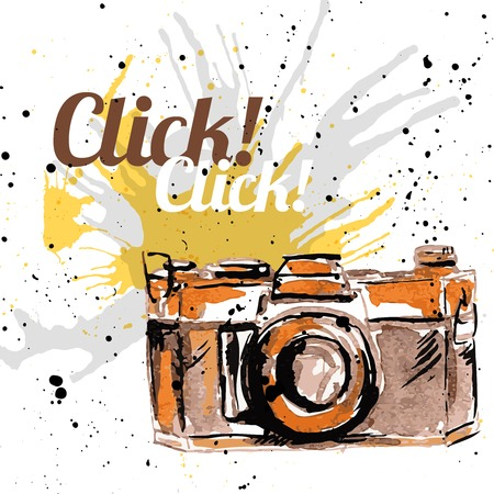 Vintage retro grunge photo camera poster ink drawn vector illustration Vector