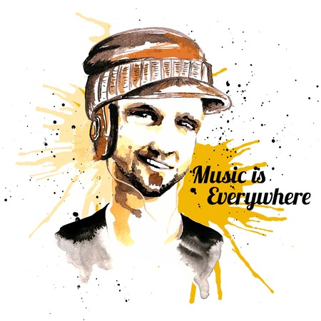 stubble: Smiling unshaved male hipster character in visor hat and headphones ink drawn music poster vector illustration