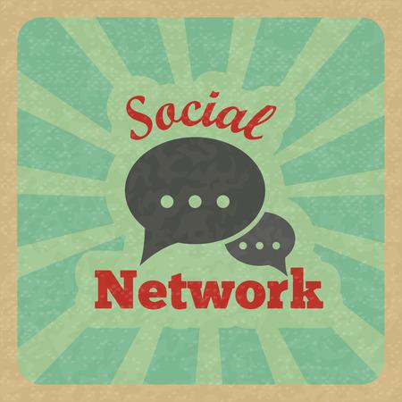 Chat message speech talk text bubble communication social network retro poster vector illustration. Vector