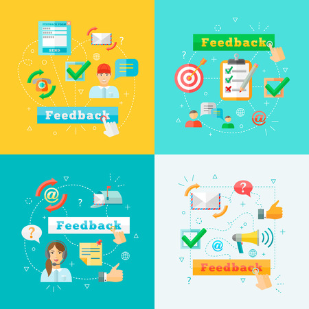 feedback: Feedback concept computer design infographic charts elements set vector illustration Illustration