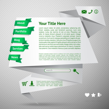 Origami Paper Website Page Design Template With Menu Services