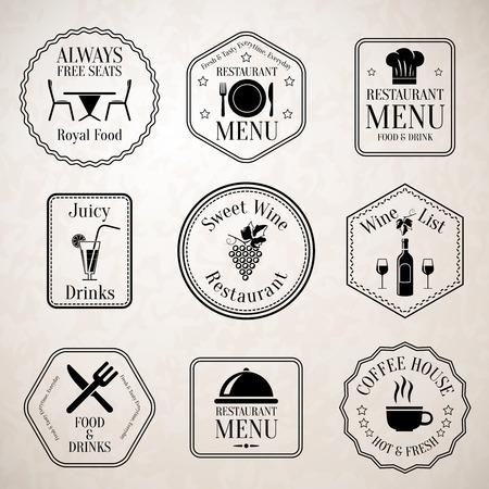 hot seat: Restaurant menu food and drinks wine list black labels set with serving elements isolated vector illustration Illustration