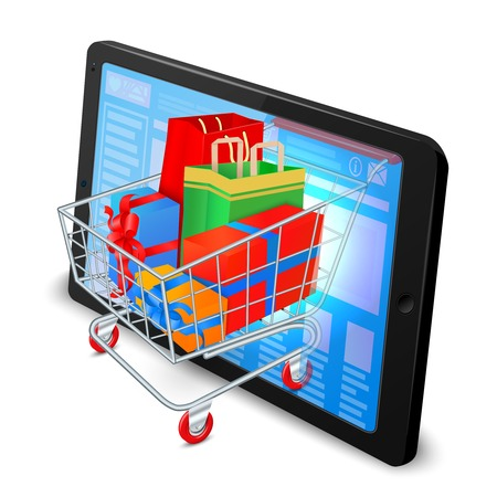 online purchase: Supermarket cart 3d with gift boxes in tablet computer internet shopping concept vector illustration