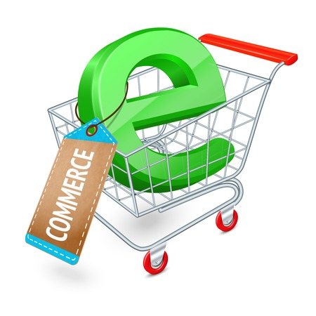 Supermarket cart 3d with e-commerce symbol and cardboard tag internet shopping concept vector illustration