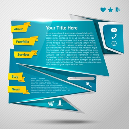 Blue origami paper website page design template with ribbon navigation buttons vector illustration Stock Vector - 28525242