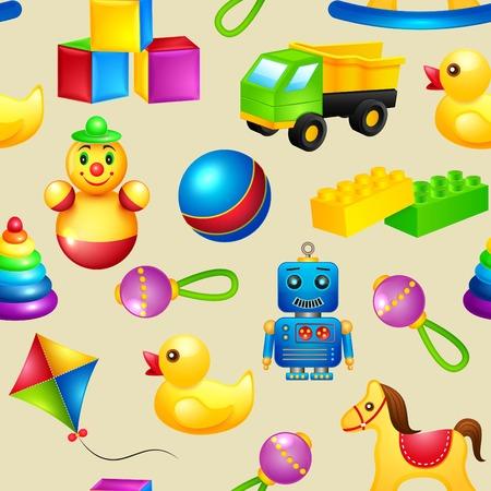 Decorative children toys seamless pattern of truck building blocks rocking horse vector illustration Vector