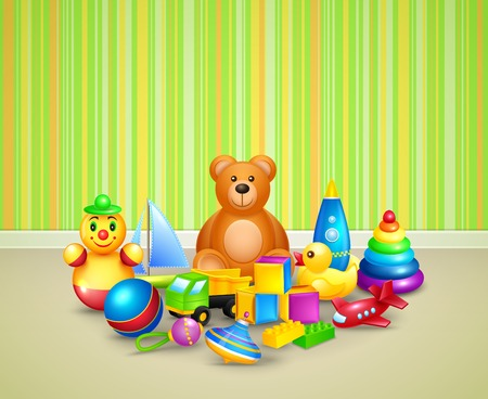 toy shop: Decorative children toys icons set kid play room background vector illustration