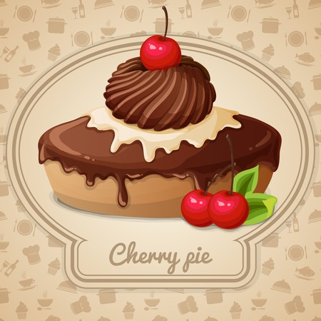 Cherry pie dessert bakery emblem and food cooking icons on background vector illustration Vector