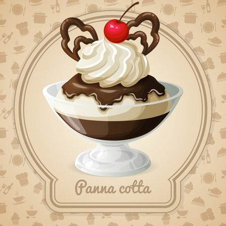 panna cotta: Panna cotta dessert with chocolate syrup and cherry emblem and food cooking icons on background vector illustration