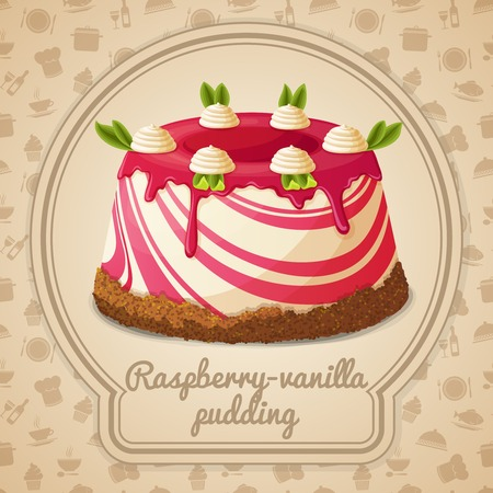 vanilla pudding: Raspberry vanilla pudding dessert label and food cooking icons on background vector illustration