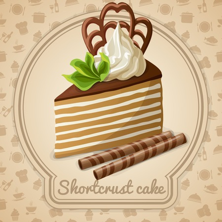 layer cake: Shortcrust cake dessert label and food cooking icons on background vector illustration