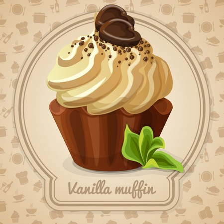 pastry chef: Vanilla muffin dessert with cream label and food cooking icons on background vector illustration