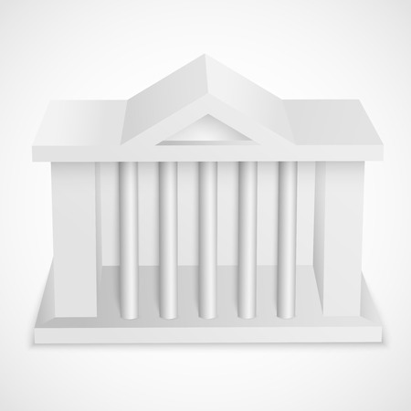 Bank icon white 3d building template isolated vector illustration