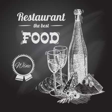 Wine and cheese vintage sketch decorative hand drawn restaurant poster vector illustration. Illustration