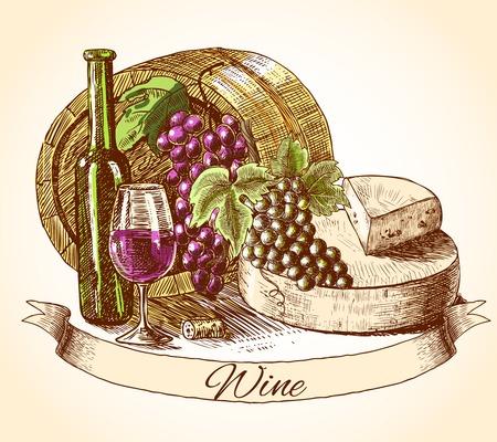 pane e vino: Formaggio vino di colore e pane disegnato sfondo illustrazione vettoriale vintage mano decorativi schizzo