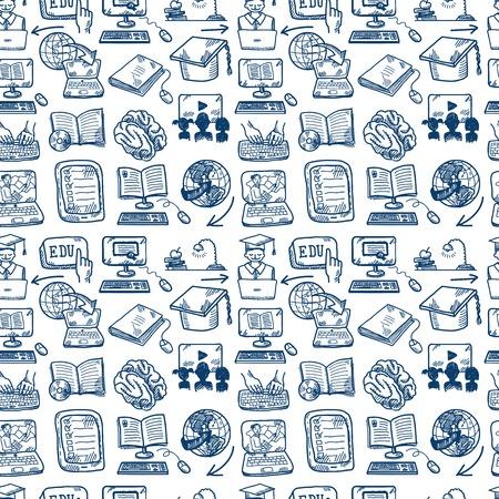 educaci�n en l�nea: Graduaci�n de la educaci�n en l�nea y el icono de boceto de e-learning de fondo sin fisuras ilustraci�n vectorial