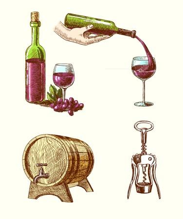sommelier: Mano vino de la vendimia dibujado iconos decorativos conjunto de barril aislado sacacorchos botella de vino ilustraci�n vectorial