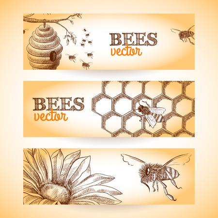 Honingbij bijenkorf kam en bloemschets banners te stellen geïsoleerde vector illustratie. Stock Illustratie